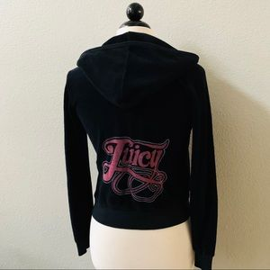 JUICY COUTURE black pink JUICY terrycloth hoodie S
